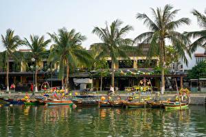 Фото Вьетнам Берег Река Пирсы Лодки Дома Пальмы Hoi An Природа