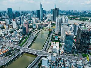 Картинка Вьетнам Здания Речка Мосты Сверху Ho Chi Minh City Города