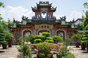 Фотография Вьетнам Пагоды Храмы Скульптура Кусты Phuc Kien Pagoda in Hoi An город
