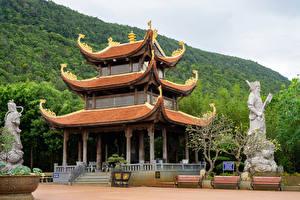 Фото Вьетнам Храмы Скульптура Скамья Buddhist Temple Truc Lam Ho Quco Zen Monastery on Phu Quoc Island город