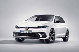 Картинка Volkswagen Белый Металлик Сером фоне Polo GTI, (Worldwide), (Typ AW), 2021