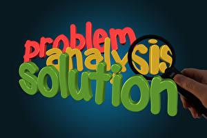 Обои Текст Английская Разноцветные Лупа problem analysis solution