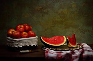 Картинка Яблоки Арбузы Нож Натюрморт Часть Продукты питания