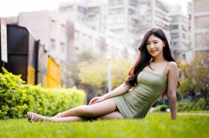 Картинки Азиатки Платья Трава Сидя Взгляд Девушки