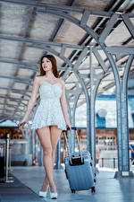 Картинка Азиаты Платья Ноги Чемодан Красивые девушка