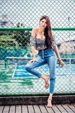 Картинки Азиаты Забором Поза Джинсов Блузка Смотрит молодые женщины