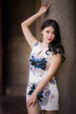 Фотография Азиатки Поза Платья Смотрят Девушки