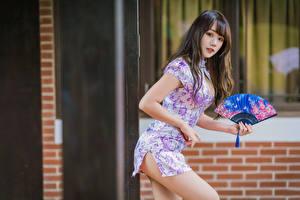 Фотография Азиаты Позирует Платье Веер Смотрят Шатенки Девушки