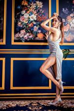 Обои Азиаты Позирует Платье Ног Смотрит молодые женщины
