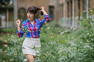 Картинка Азиатка Поза Рубашки Юбка Размытый фон молодая женщина
