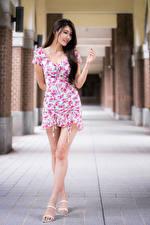 Фото Азиаты Позирует Улыбка Платье Ноги Девушки