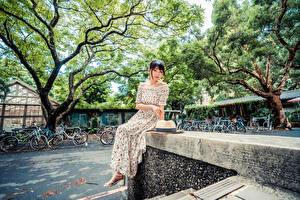 Картинка Азиатка Сидит Платье Шляпа Смотрят