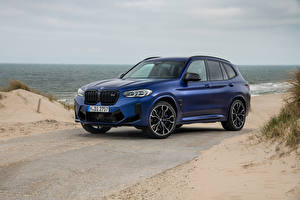 Картинка BMW Кроссовер Синяя 2021 X3 M Competition Worldwide машина