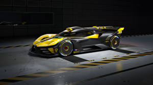 Фотографии BUGATTI Сбоку Желтая Черный Карбон Bolide, 2022 Автомобили