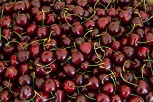 Фотографии Ягоды Много Вишня Темно красный Еда