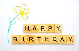 Обои для рабочего стола День рождения Шаблон поздравительной открытки Текст Английский Серый фон