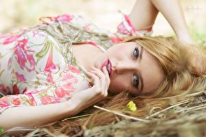 Картинка Блондинка Лежачие Взгляд Руки Макияж Красивый молодая женщина