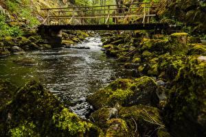 Обои Мосты Реки Камни Мох Природа картинки