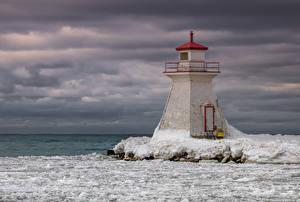 Обои Канада Маяки Озеро Лед Lake Huron Природа