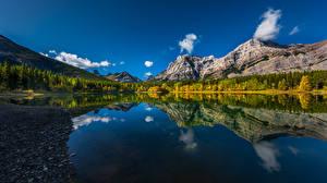 Фото Канада Гора Озеро Отражение Wedge Pond Природа
