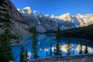 Обои Канада Горы Парки Озеро Банф Moraine Lake Природа картинки