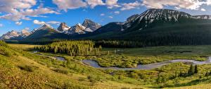 Фотографии Канада Парки Гора Панорама Пейзаж Облако Peter Lougheed Provincial Park Природа
