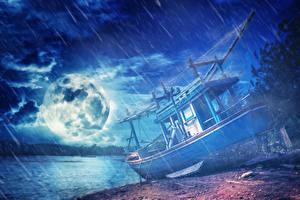 Фотографии Берег Дождь Речные суда Ночь Луна