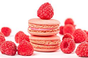 Обои Печенье Малина Белый фон Макарон Розовый Пища