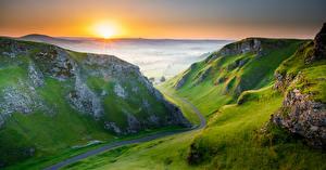 Фото Англия Утро Гора Рассвет и закат Peak District Природа