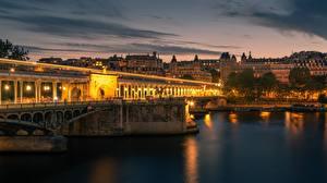 Картинки Вечер Реки Мосты Франция Париж Bir Hakeim Bridge, Seine River город