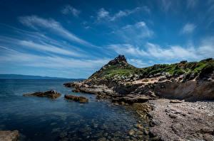 Обои Франция Берег Скалы Corse Природа