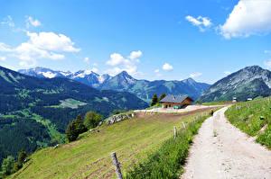 Фотография Франция Горы Дороги Альпы Облако Upper Savoy