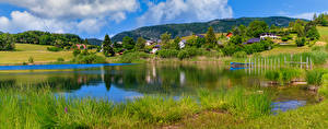 Обои Франция Пейзаж Гора Панорамная Озеро Альпы La Thuile Природа