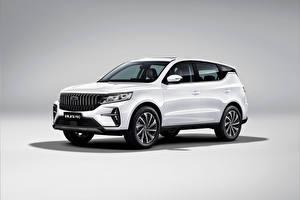 Картинка Geely Белая Металлик Кроссовер Китайские Vision X6 Pro, 2021 машина