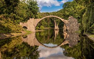 Фотография Германия Мосты Деревья Отражение Rakotzbrücke, Saxony