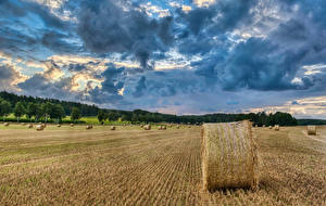 Обои Германия Поля Сено Облака Природа картинки
