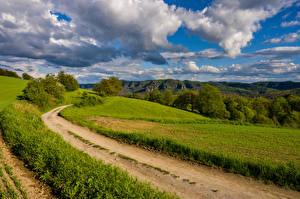 Картинка Германия Поля Дороги Пейзаж Облачно Saxony