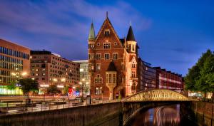 Картинки Германия Гамбург Здания Мост Набережная Города