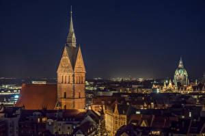 Фотография Германия Дома Церковь Ночь Hannover, Marktkirche