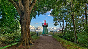 Картинки Германия Маяки Деревьев Bunthaus lighthouse город