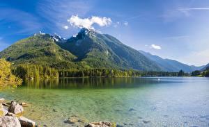 Обои Германия Горы Озеро Пейзаж Альпы Hintersee, Berchtesgaden National Park Природа картинки