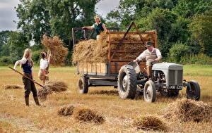 Фотография Германия Люди Поля Сено Тракторы Работа