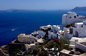 Фото Греция Тира Здания Море город