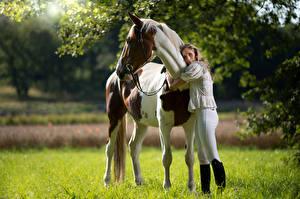 Фотографии Лошадь Объятие Взгляд Marion and Epalino молодая женщина
