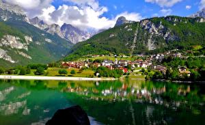 Фотография Италия Гора Озеро Альпы Lake Molveno Природа