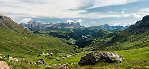 Фото Италия Горы Пейзаж Альпы Облака Долина Arabba, Dolomites