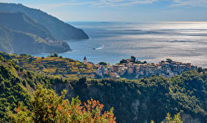 Фотографии Италия Море Побережье Сверху Corniglia