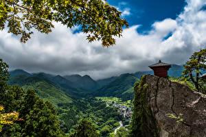 Картинка Япония Гора Пейзаж Облачно Скалы Tohoku Природа