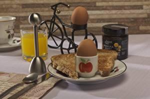 Картинка Сок Хлеб Завтрак Яйца Стакана Еда