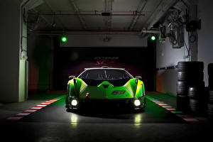 Обои Ламборгини Спереди Зеленый Фар Гаража Essenza SCV12, 2020 -- Автомобили